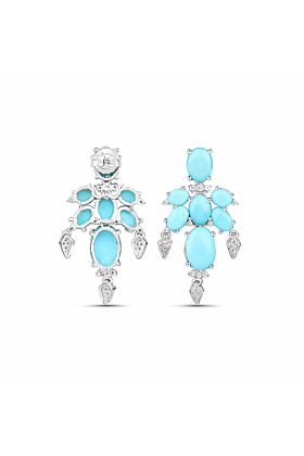 Rhodium Plated Silver Delicate Turquoise Earrings