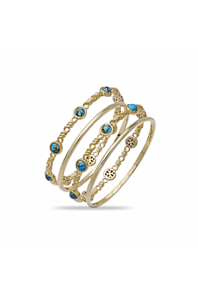 Yellow Gold Plated Silver & Turquoise Sunshine & Sea Stackable Bangles