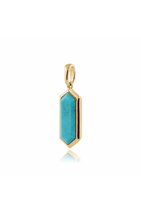 Gemondo Yellow Gold Plated Silver Turquoise Hexagon Prism Pendant Necklace