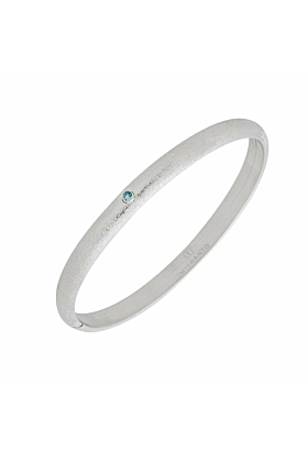 Rhodium Plated Silver & Blue Topaz Veneto Bangle