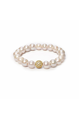 14kt Yellow Gold Plated White Pearl & Cubic Zirconia Orbis Bracelet