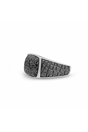 Black Rhodium Plated Silver & Fossil Agate Stone Ring