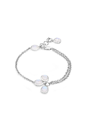 Rhodium Plated Silver Classic Moonstone Chain Bracelet