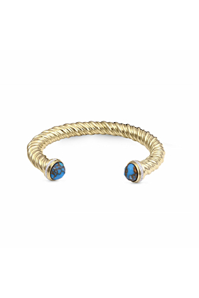 Yellow Gold Plated Silver Summer Nights Turquoise Cuff