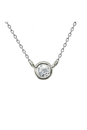 Classic White Gold Diamond Single Stone Raindrop Pendant