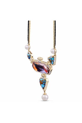 Yellow Gold Plated Silver Turquoise & Pearl Forever Young Diamond Necklace