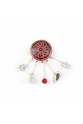 Red Brooch with Georgian Traditional Elements
