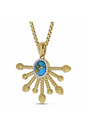 14kt Yellow Gold Plated Silver & Turquoise Day Break Pendant