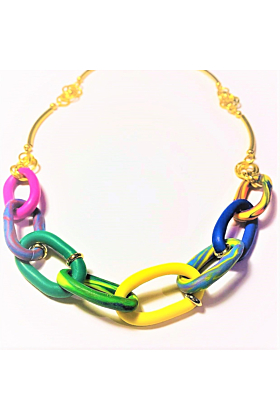 18kt Gold Plated Multicoloured Chunky Chain Necklace