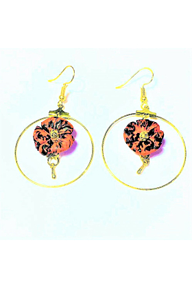 18kt Yellow Gold Plated Red & Black Floral Earrings