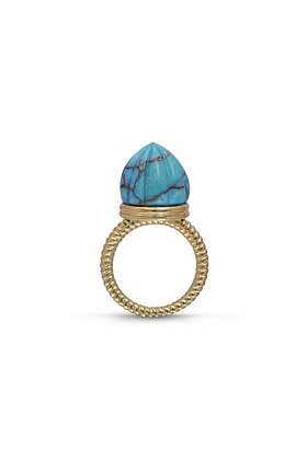 14kt Yellow Gold Plated Silver & Turquoise Single Stone Ring & Pendant