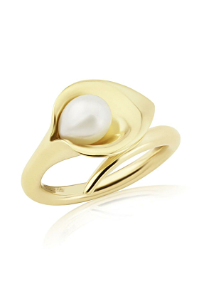 9kt Gold Lily Pearl Ring