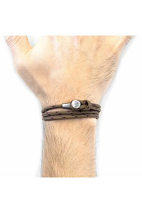 Brown Dundee Silver and Rope Bracelet