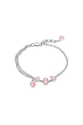 Rhodium Plated Silver Stylish Pink Opal Chain Bracelet