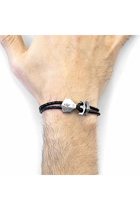 Coal Black Delta Anchor Silver and Braided Leather Bracelet