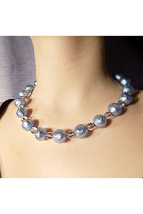 Murano Glass Bead Shades Of Blue Necklace