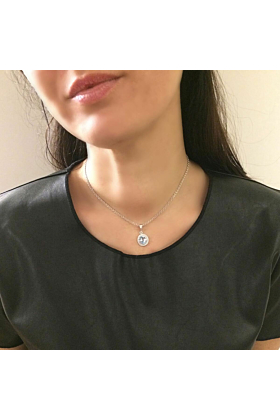 Rhodium Plated Silver Luccichio Blue Topaz Pendant Necklace