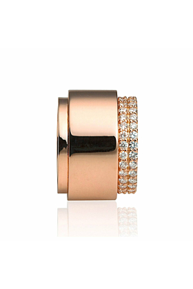 Rose Gold Double Band Diamond Ring