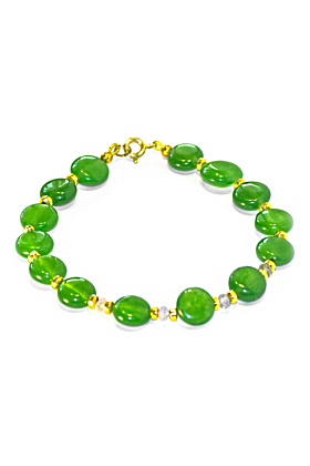 Regenz Gold Plated Silver Natural Sapphire & Transparent Green Jade Imperial Bracelet