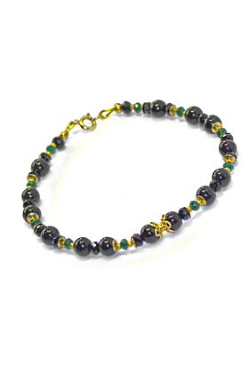 Regenz Gold Plated Silver Black Tourmaline and Transparent Green Jade Bracelet