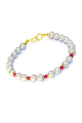 Regenz Gold Plated Silver Grey Pearl & Natural Ruby Bracelet