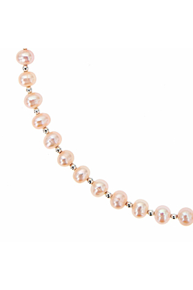 Sterling Pearl Necklace - Champagne