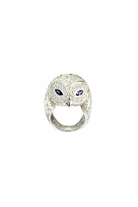 White Gold, Diamond & Blue Sapphire Owl Ring