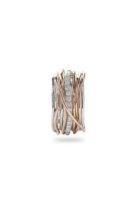 9kt Rose Gold & Silver Classic Oro Rosa Argento Diamanti 13 Ring