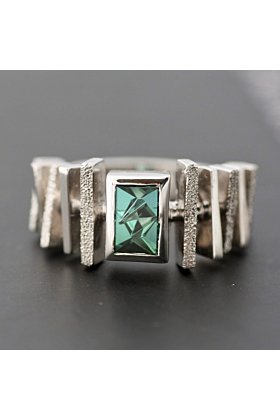 White Gold Plated Silver Handcrafted Green Tourmaline Ring