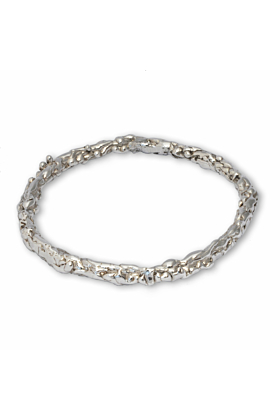Sterling Silver Molten Bangle