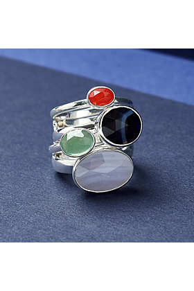 Sterling Silver Atomic Maxi White Striped Black Agate Adjustable Ring
