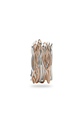 9kt Rose Gold & Silver Classic Oro Rosa Argento 13 Ring