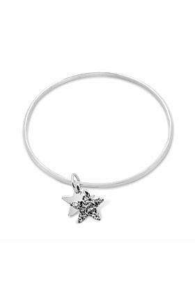 Sterling Silver Spirit Double Star Oval Bangle Bracelet