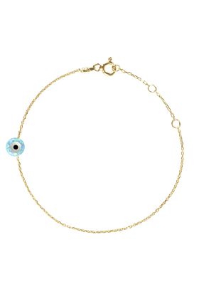 Yellow Gold Plated Mini Opalite Evil Eye Bracelet