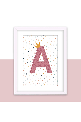 Personalised Initial, Alphabet Print in Pink