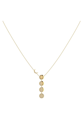 Yellow Gold Plated Silver & Diamonds Moon Transformation Necklace