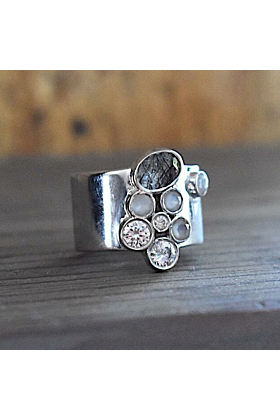 Rhodium Plated Cigar Band With Black Rutile, Grey Moonstone & CZ