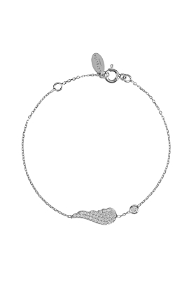 Rhodium Plated Small Angel Wing Bracelet