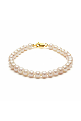 14kt Yellow Gold Plated & White Freshwater Pearl Classic Bracelet
