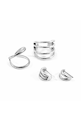 Huntington Surf Silver Earring Studs