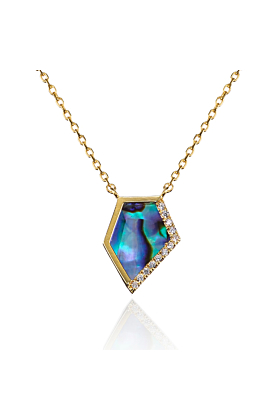 14kt Gold Plated Abalone Shell Pendant Necklace