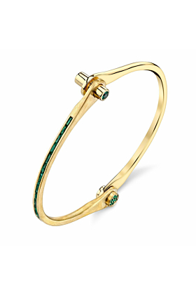 Skinny Baguette Handcuff in Yellow Gold