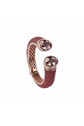 Morganite Bolero 18kt Gold Bangle With Stingray Leather