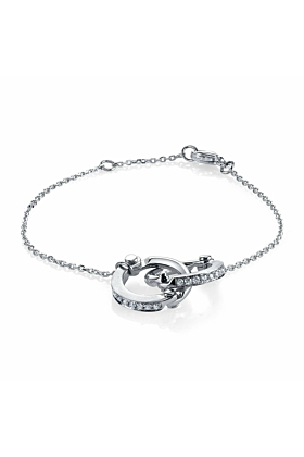 Handcuff Chain Bracelet in White Gold