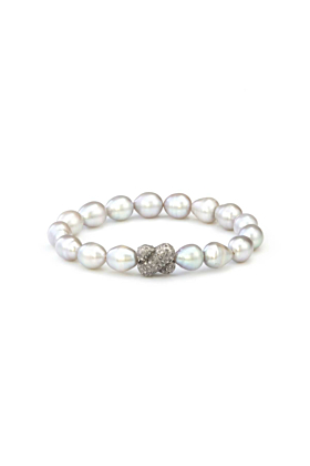 Sterling Silver Light Grey Freshwater Pearl Diamond X Small Bracelet