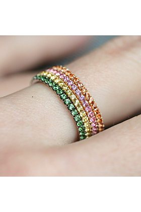 18kt Yellow Gold Full Bloom 4-Ring Combination