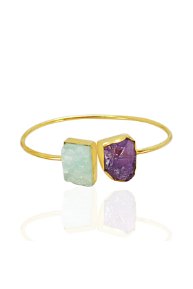 18kt Gold Plated Raw Amethyst & Aquamarine Stackable Bangle