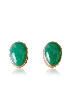 18kt Gold Plated Natural Green Onyx May Birthstone Design Post Earrings