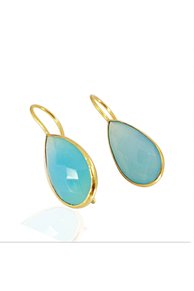 18kt Yellow Gold Plated Blue Chalcedony Earrings