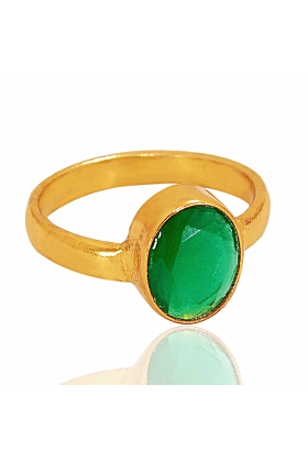 18kt Yellow Gold Plated Oval Shape Green Onyx May Birthstone Solitaire Ring